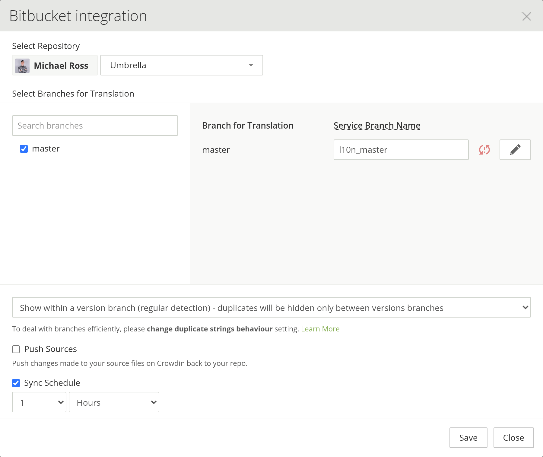 Bitbucket Integration Unconfigured
