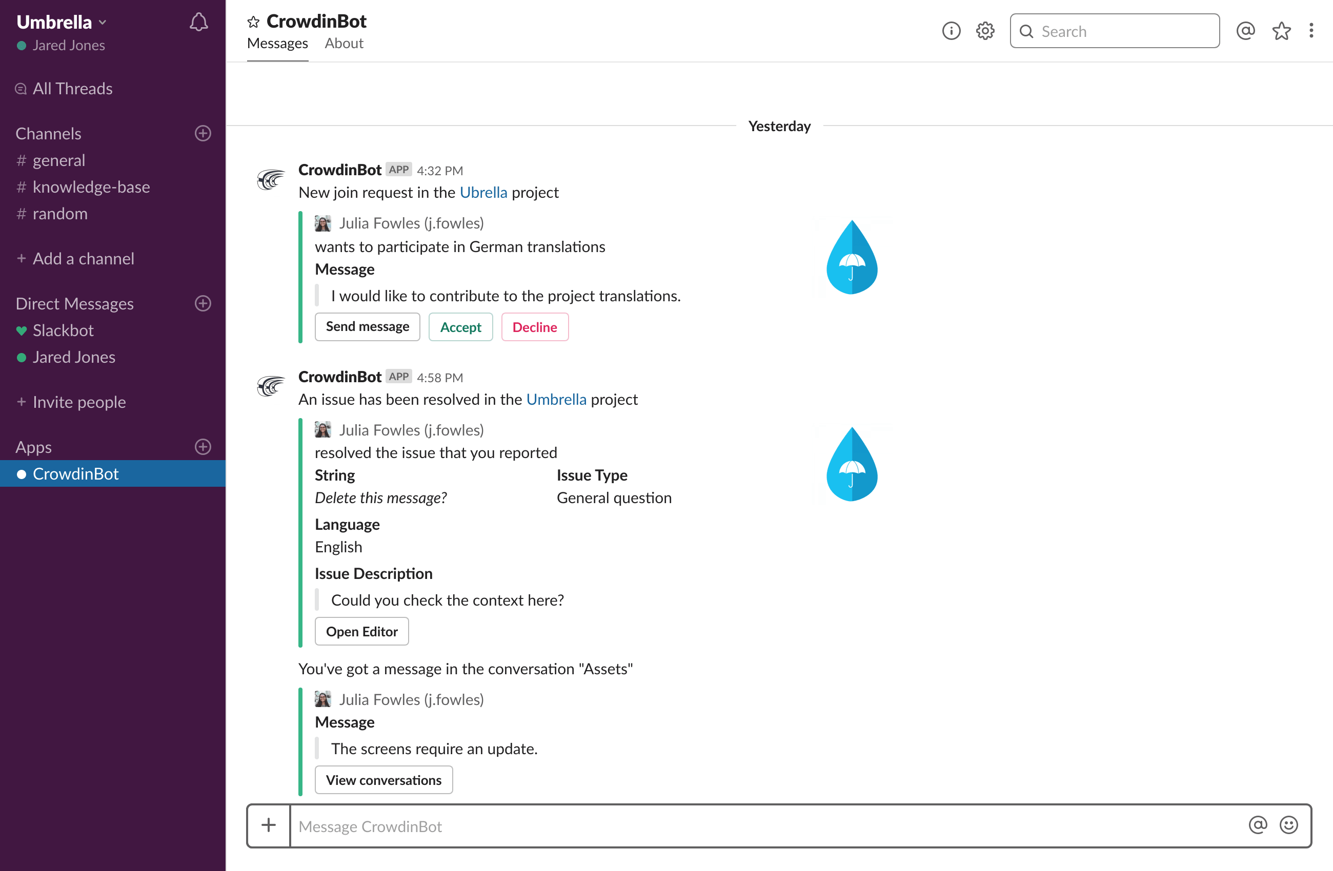 crowdin notifications slack