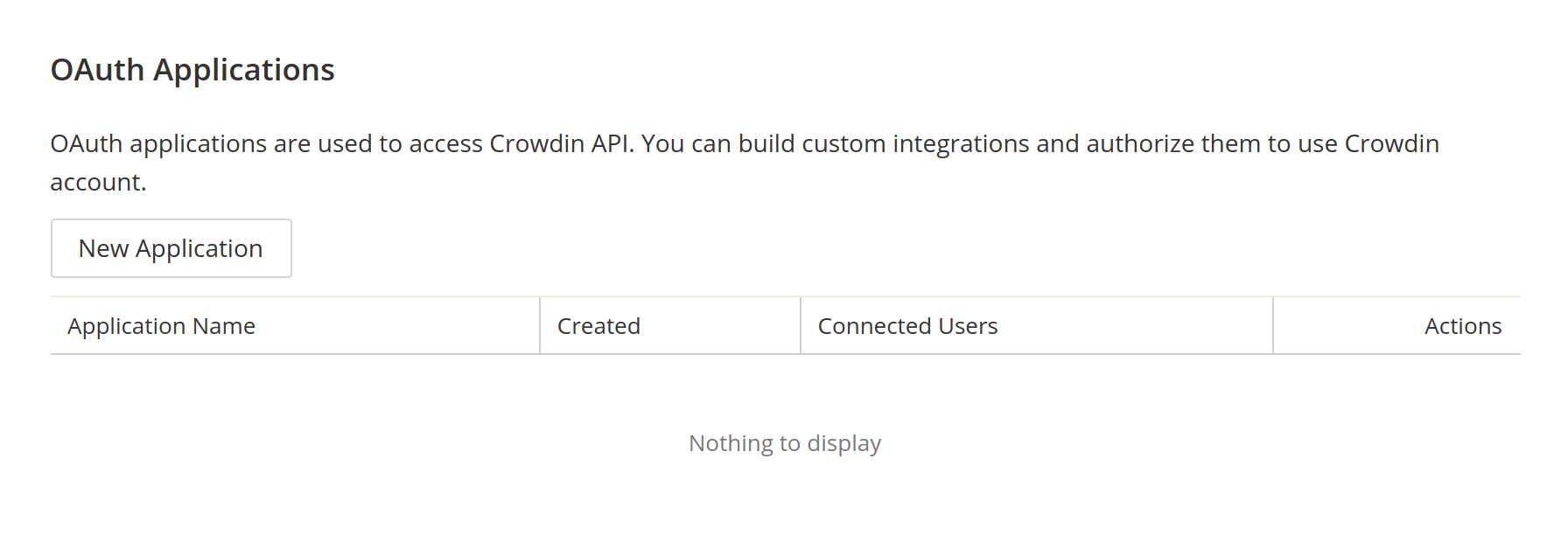 OAuth Apps Section