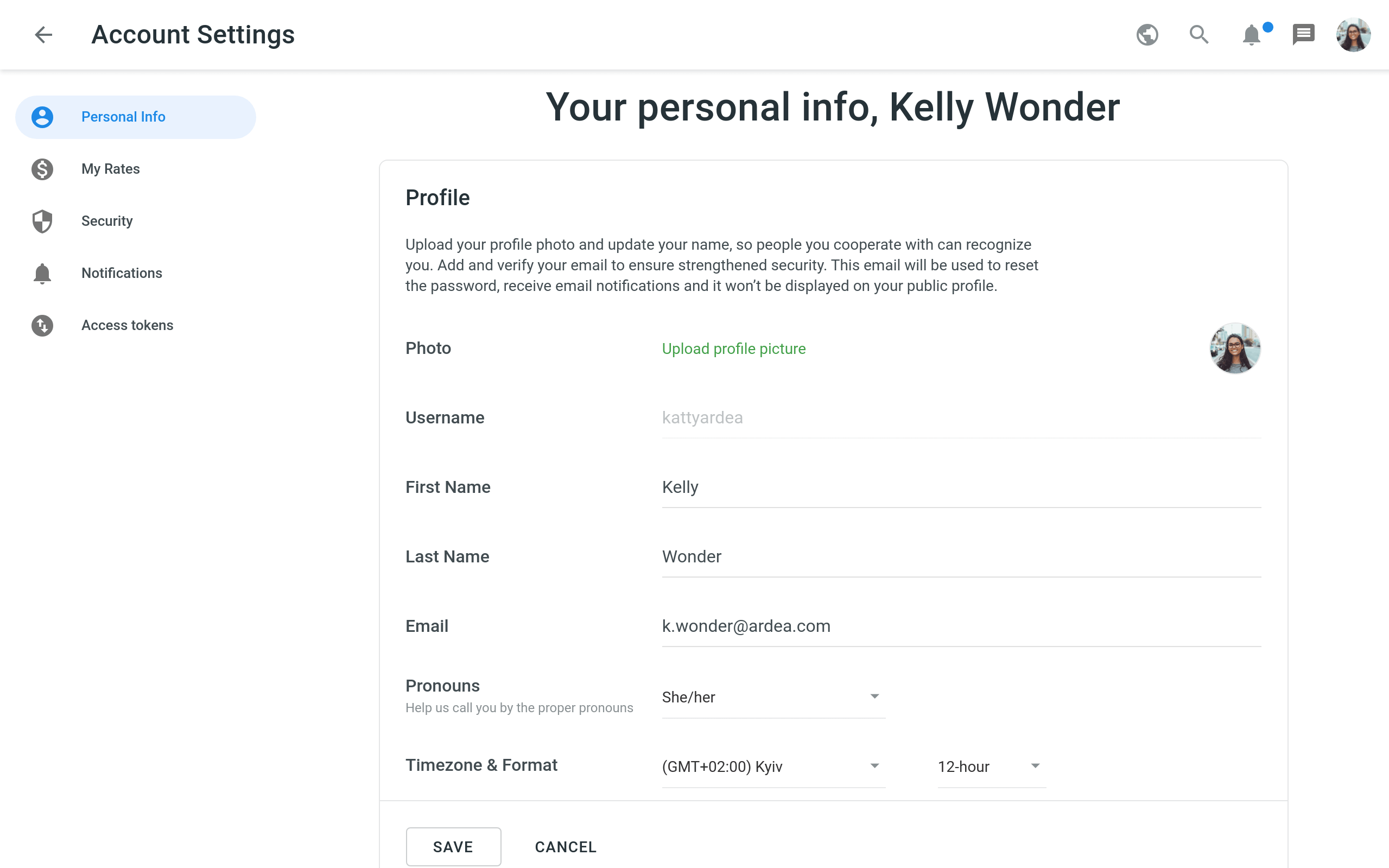 account personal info